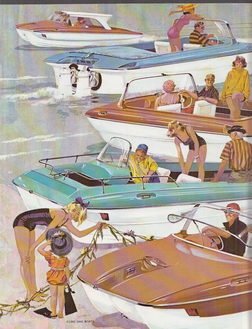 1963 OMC Stern-Drive Outboard Motorboat sales folder Dual Deluxe Custom Seasport