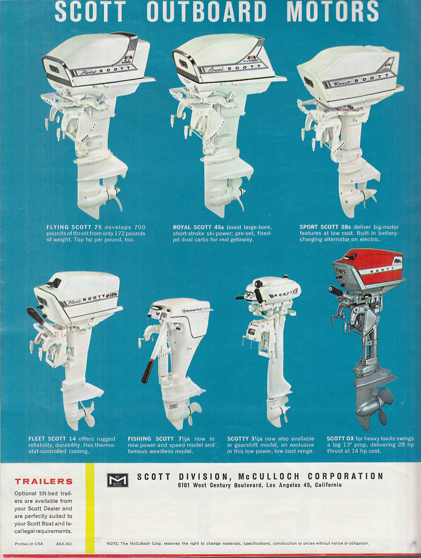 1963 Scott Outboard Motor & Boat sales folder Flying Scott Hydro Scott +