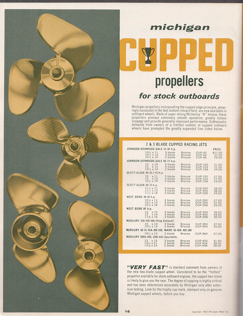 1963 Michigan Machined-Pitch Outboard Motor Propellers Catalog