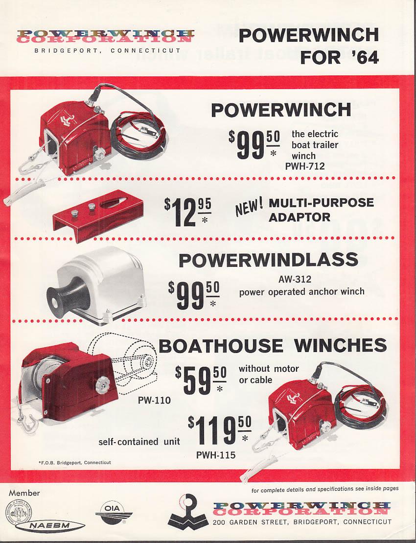 1964 Powerwinch Sales Folder Powerwindlass Boathouse Winches