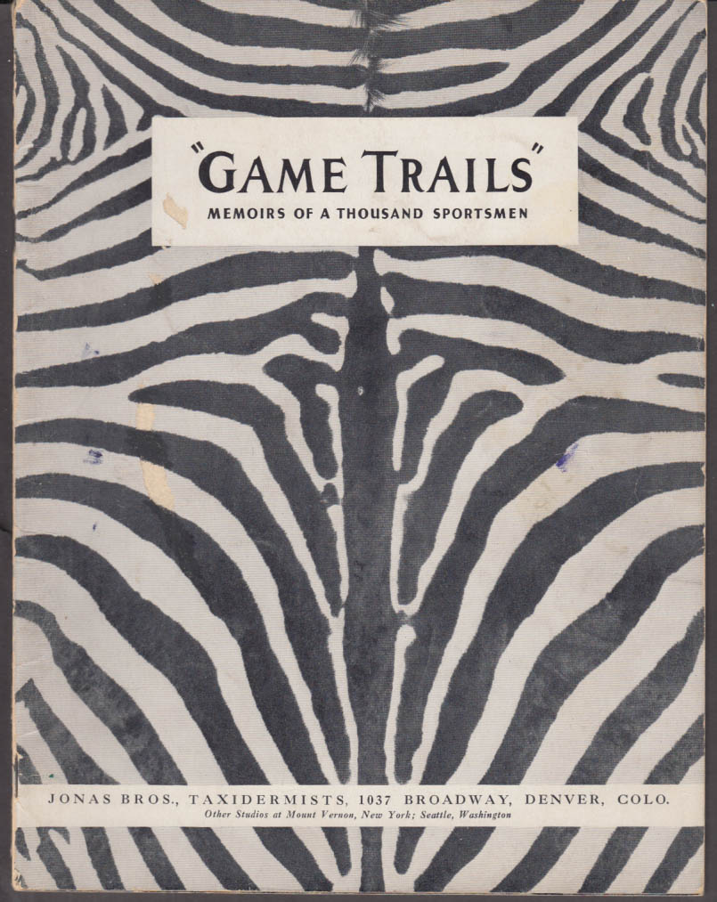 Jonas Bros Taxidermists Game Trails Brochure 1939 Denver CO