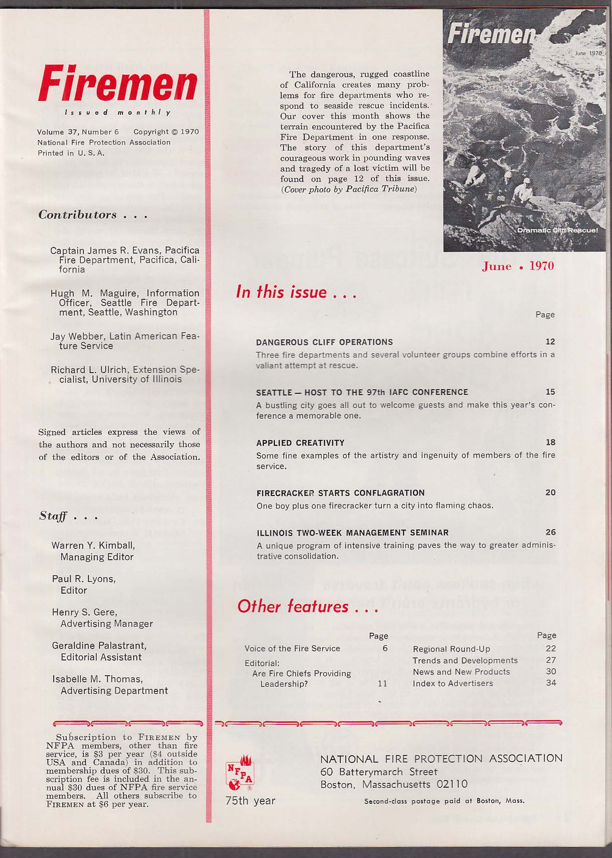 FIREMEN Cliff Rescue Operations; Seattle Conference; Firecrackers ++ 6 1970