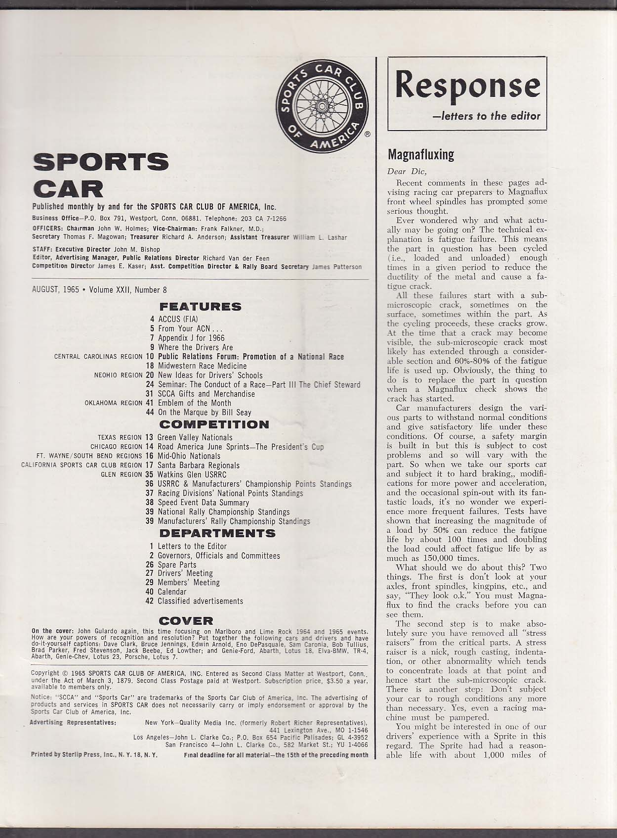SCCA SPORTS CAR Watkins Glen USRRC Santa Barbara Regionals ++ 8 1965