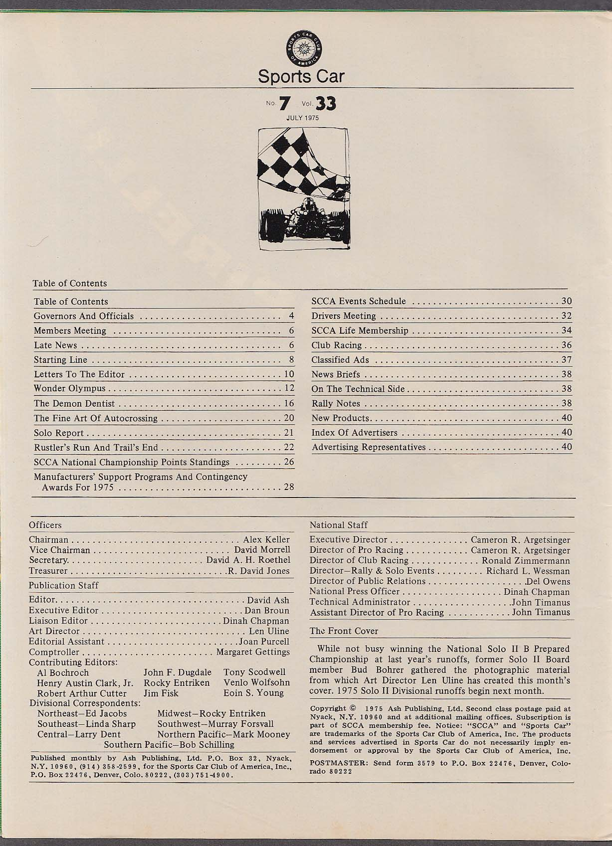 SCCA SPORTS CAR Wonder Olympus John Buffum Bill Schmid ++ 7 1975