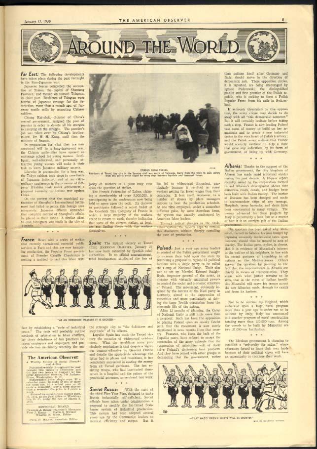 AMERICAN OBSERVER 1/17 1938 World Censorship; Nazi Brown Shirts; Waukegan HS