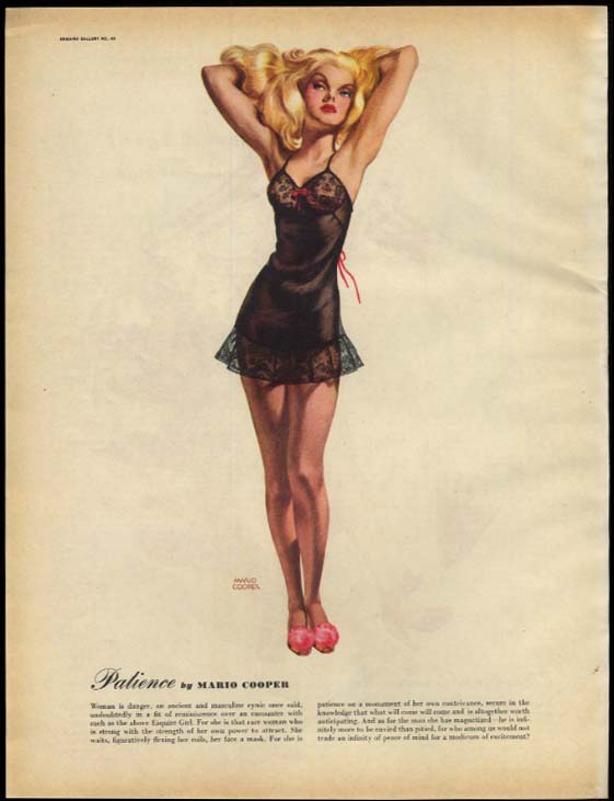 Patience by Mario Cooper / Ornament by Bob Cassell pin-up page Esquire 3 1947