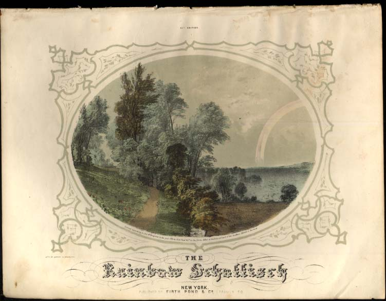 Henry Kleber: The Rainbow Schottisch hand-colored engraving sheet music 1853