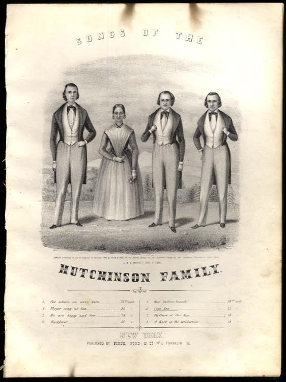 J J Hutchinson: Cape Ann engraved portrait sheet music 1843 Endicott litho
