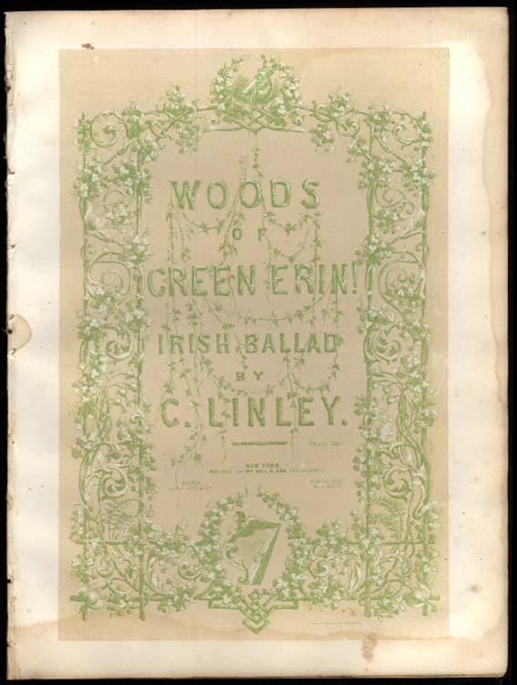 C Linley: Woods of Green Erin! sheet music 1853 Sarony & Major litho