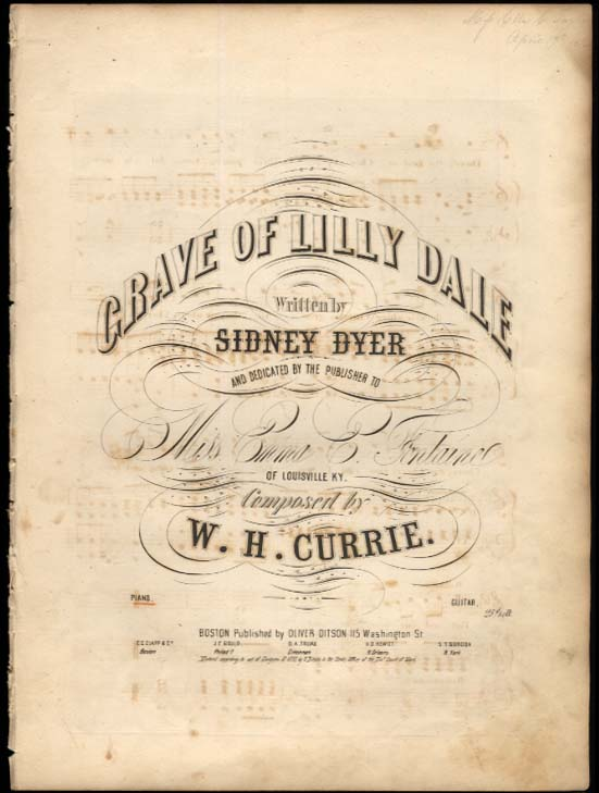 Dyer / Currie Grave of Lilly Dale sheet music 1855 to Emma E Fontaine Louisville
