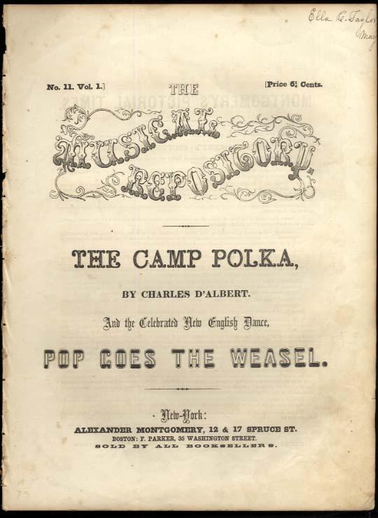 Charles D'Albert: The Camp Polka / Pop Goes the Weasel sheet music ca 1853