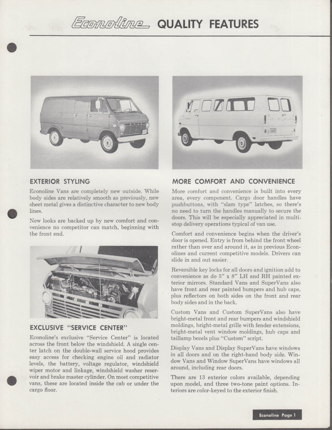 1969 Ford Econoline Van 3-ring binder specifications pages insert