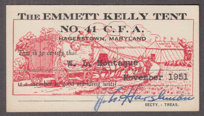 Circus Fans of America Hagerstown MD Emmet Kelly Tent membership card 1951