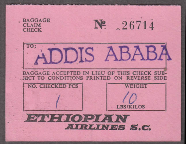 Ethiopian Airlines Addis Ababa baggage claim check NY