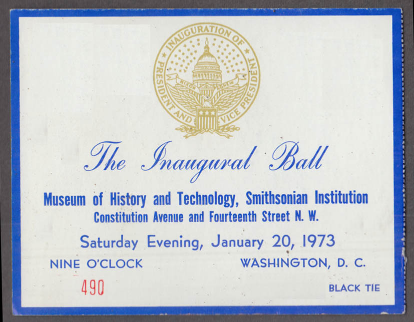 Nixon-Agnew Inaugural Ball at Smithsonian 1/20 1973 ticket stub