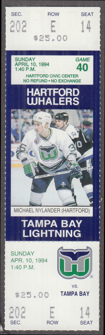 Hartford Whalers Ticket Stub vs Tampa Bay Lightning 4/10 1994