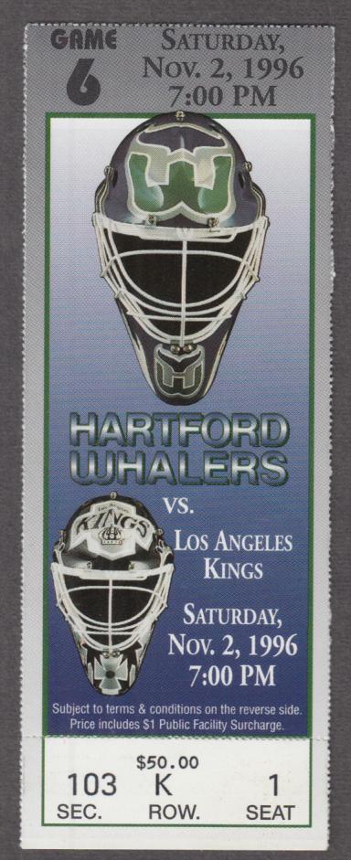 Hartford Whalers Ticket Stub vs Los Angeles Kings 11/2 1996