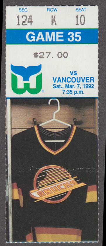 Hartford Whalers Ticket Stub vs Vancouver Canucks 3/7 1992