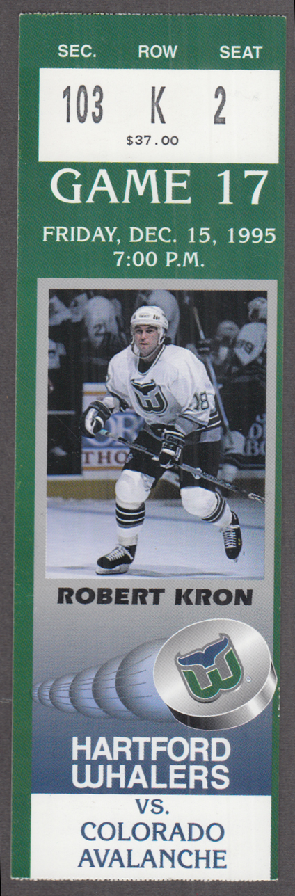 Hartford Whalers Ticket Stub vs Colorado Avalanche Robert Kron 12/15 1995