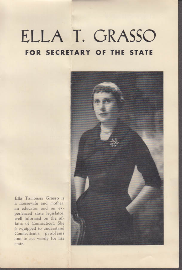 Ella T Grasso for Secretary of State campaign folder 1958 Connecticut