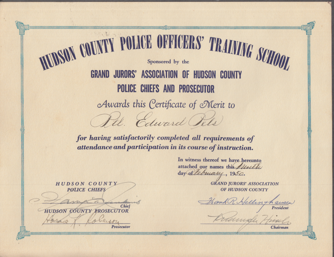 Officers certificate office ideas hudson county police officers training school certificate of merit alramifo Image collections