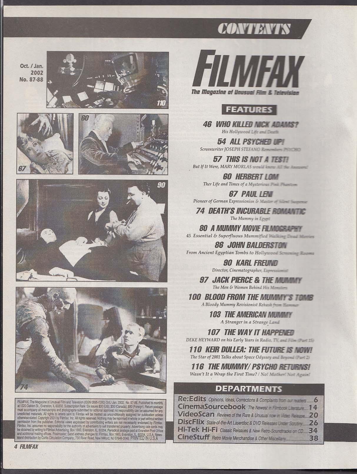 FILMFAX #87-88 Karl Freund John Balderston Jack Pierce Keir Dullea + 1 2002