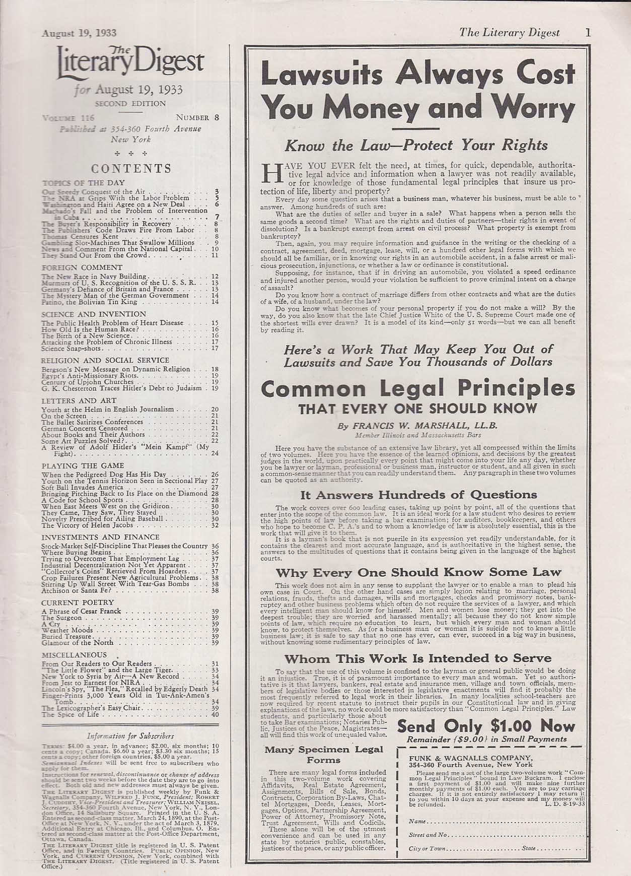 LITERARY DIGEST Amelia Earhart Byrd Lindbergh Hitler Mein Kampf + 8/19 1933