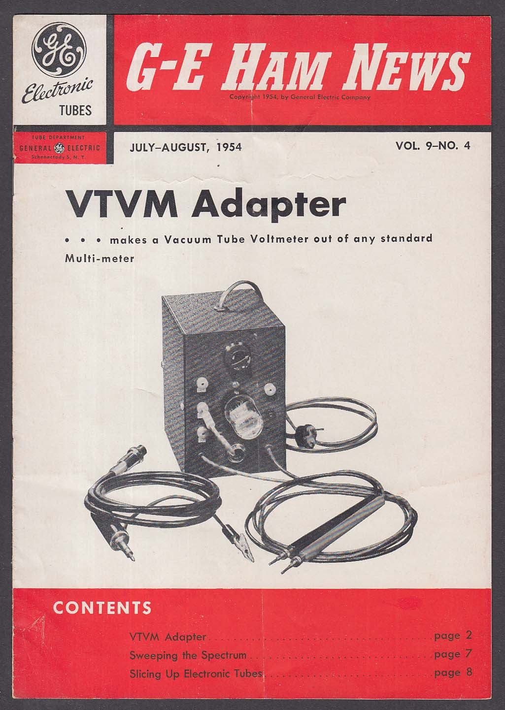 General Electric HAM NEWS Vol 9 #4 VTVM Adapter + 7-8 1954