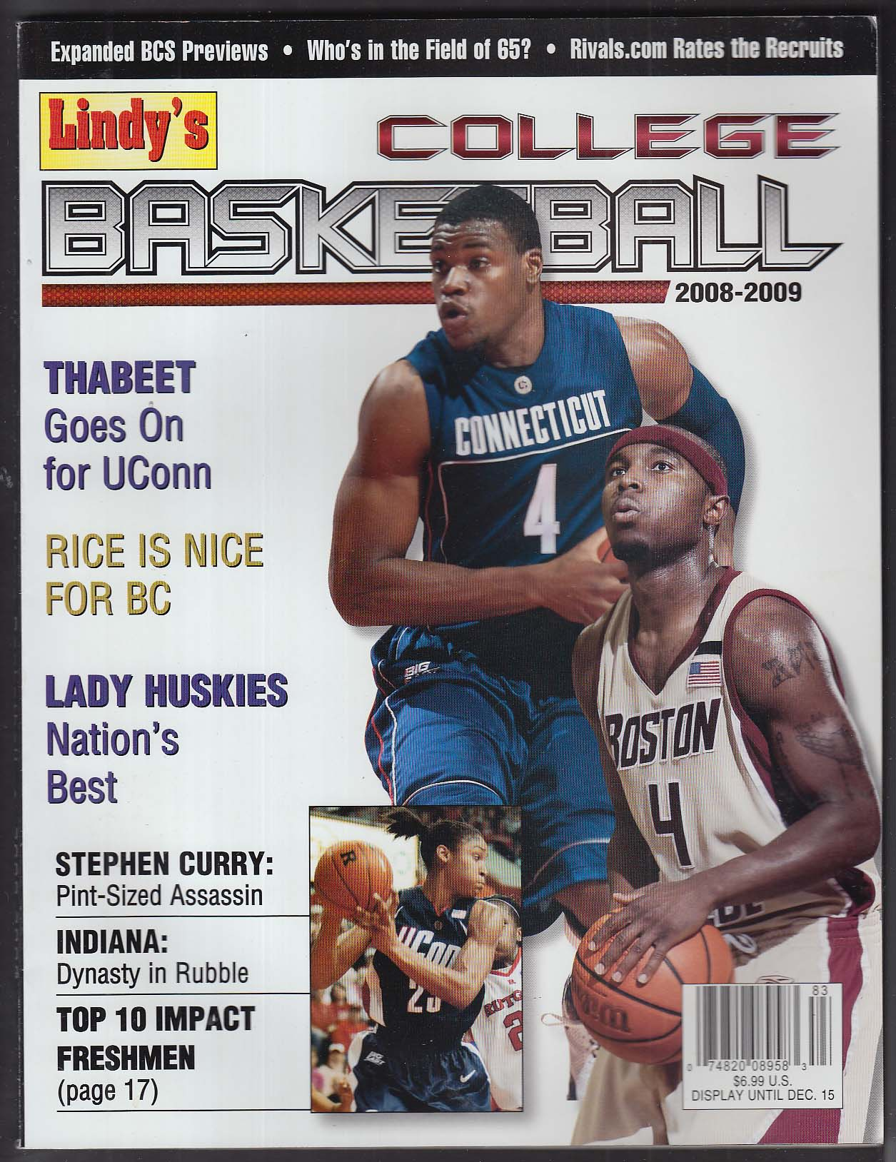Lindy's College Basketball 2008-2009 Hasheem Tyrese Thabeet Rice Stephen Curry +
