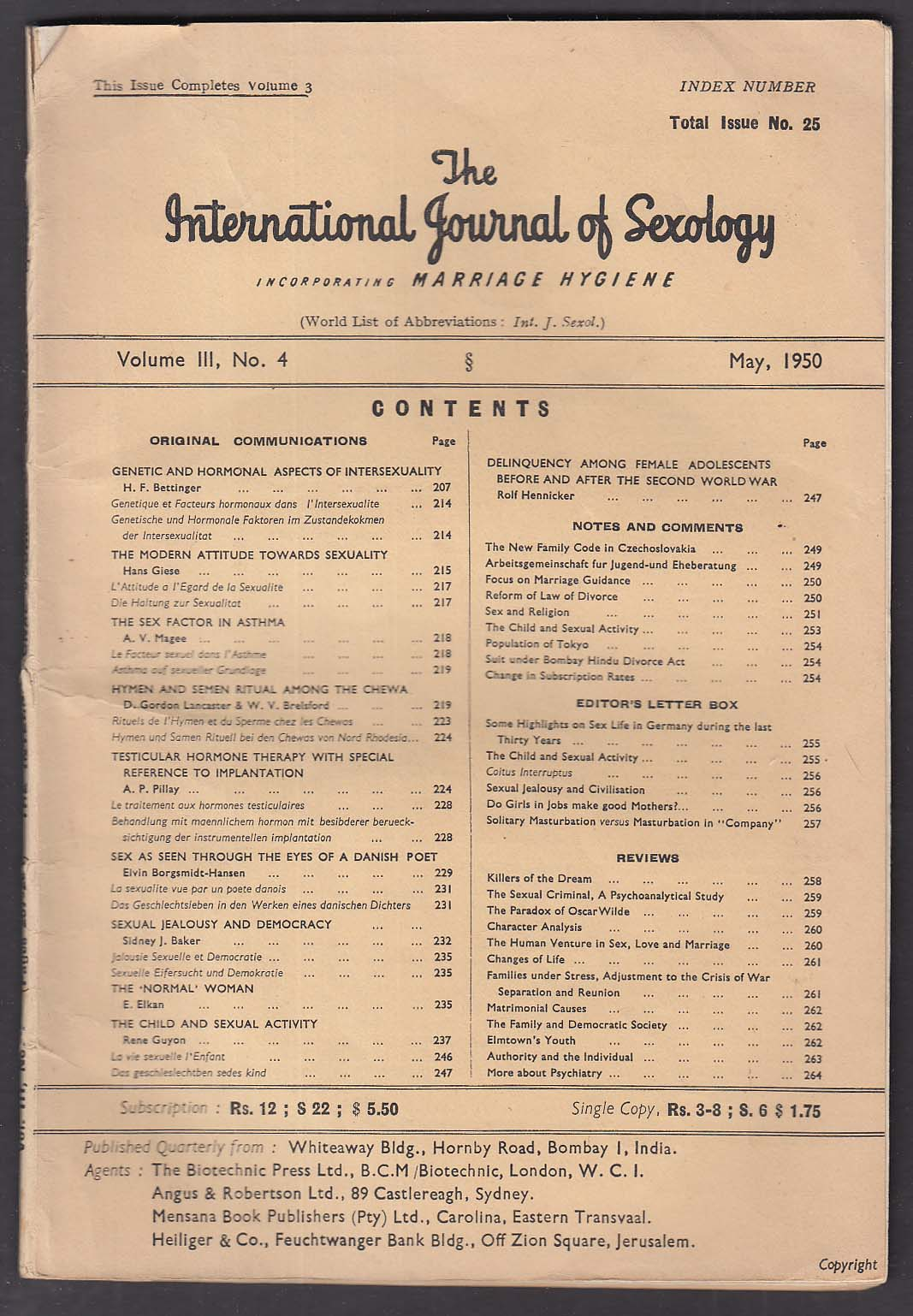 International Journal of Sexology #25 Chewa Rituals Intersexuality ++ 5 1950