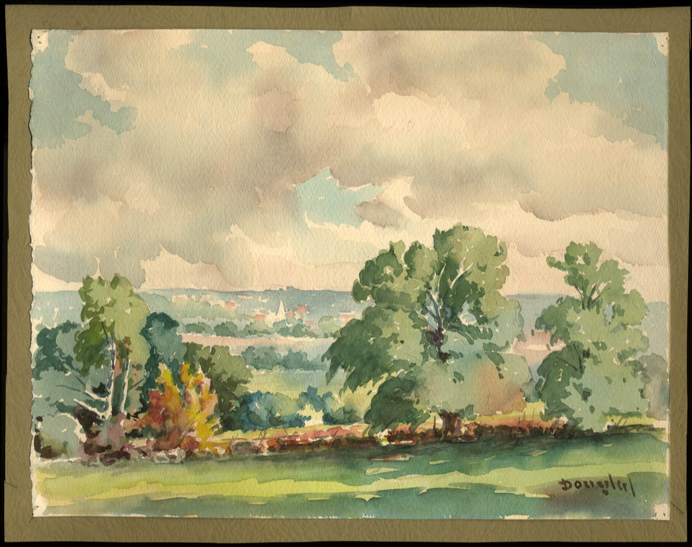 Image for Arthur S Douglas original watercolor field stone wall & trees ca 1930s