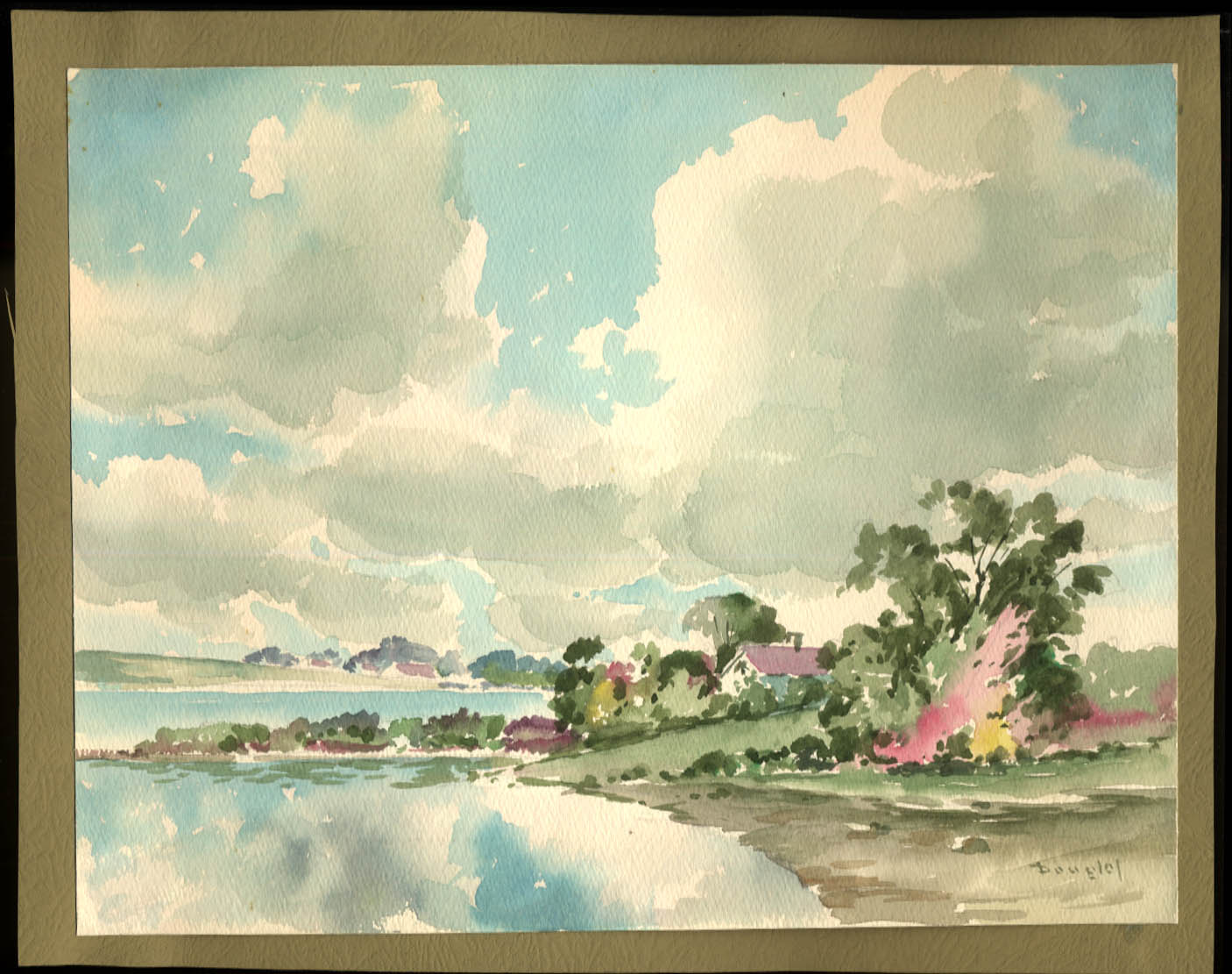 Arthur S Douglas original watercolor House on the Pawtuxet ca 1930s