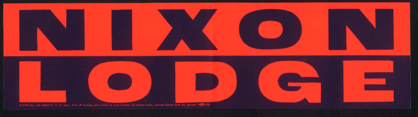 1960 Presidential Campaign bumper sticker Nixon - Lodge unused