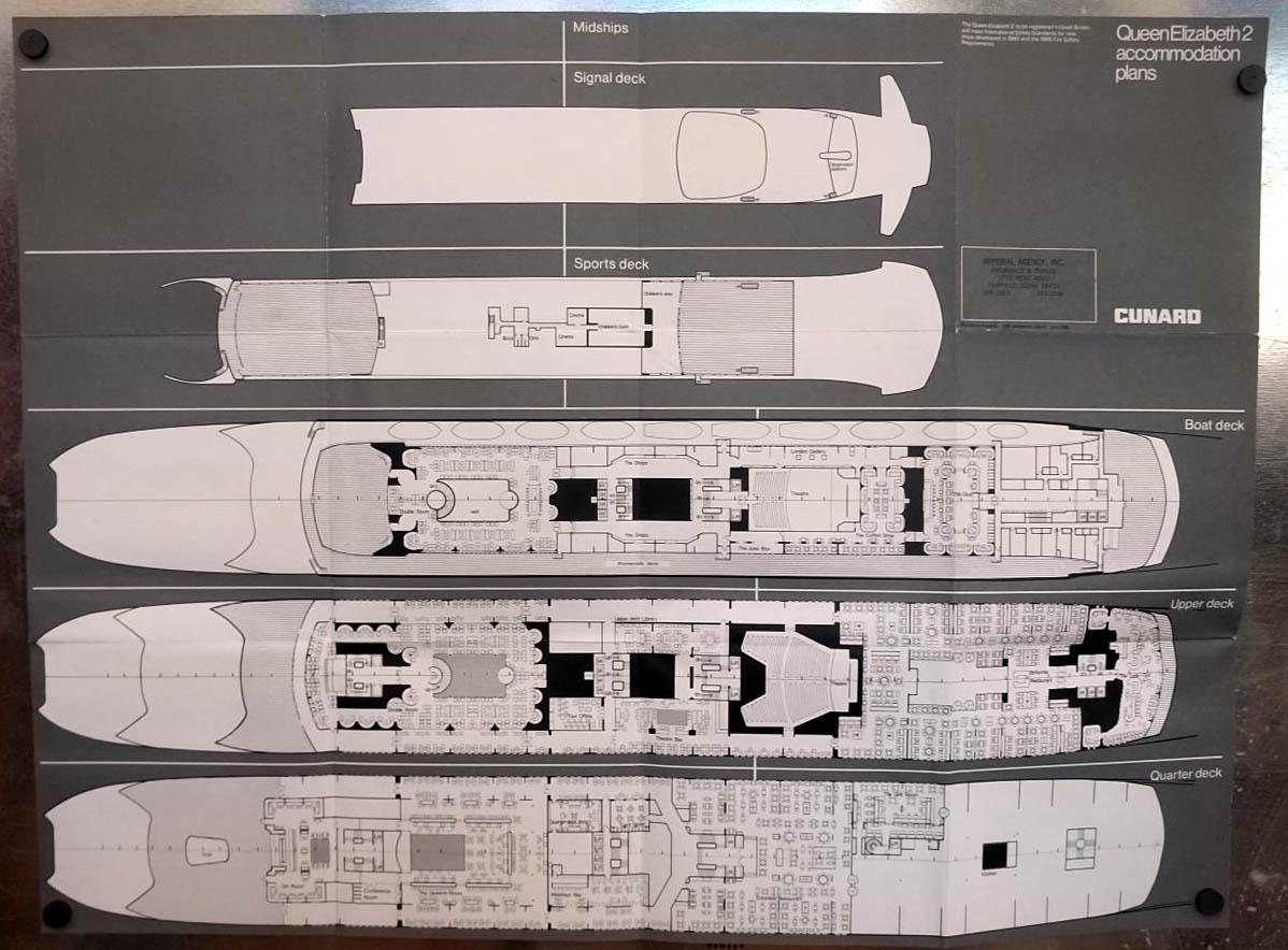 Cunard line r m s queen elizabeth 2 deck plan 7 1968 baanklon Gallery