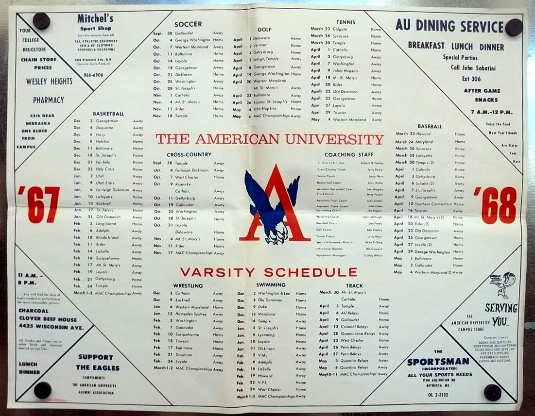 American University Athletics Season Schedule Poster 1967-1968 Washington DC