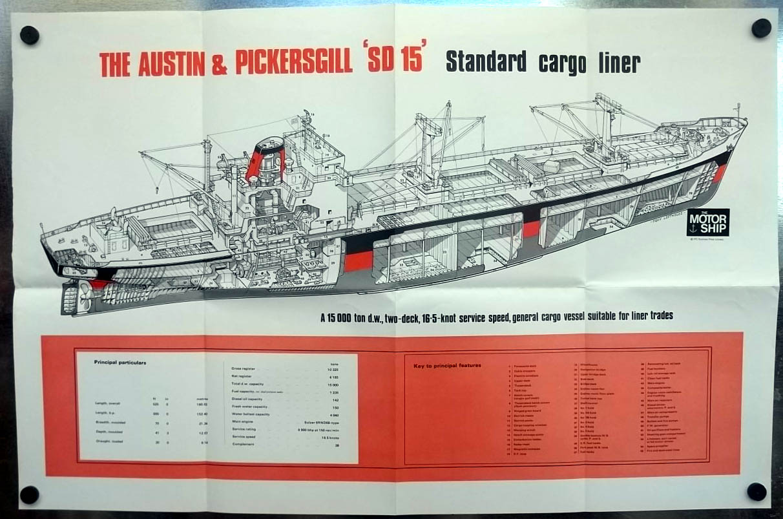 Austin & Pickersgill SD 15 Standard Cargo Liner cutaway view poster 1970 SD15