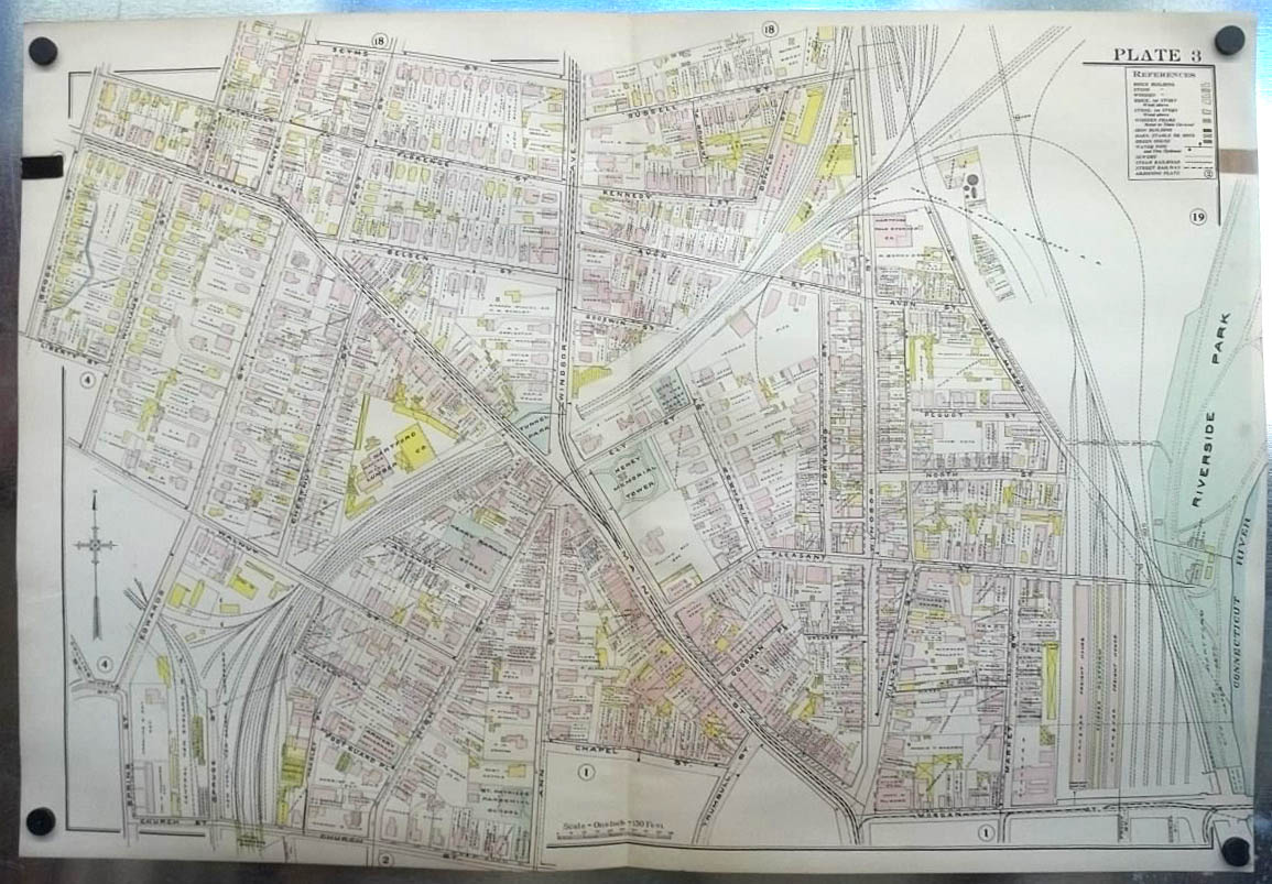 1909 Hartford CT Map: RR Yards; Keney Tower; Lumber Co; Smith Northam ++