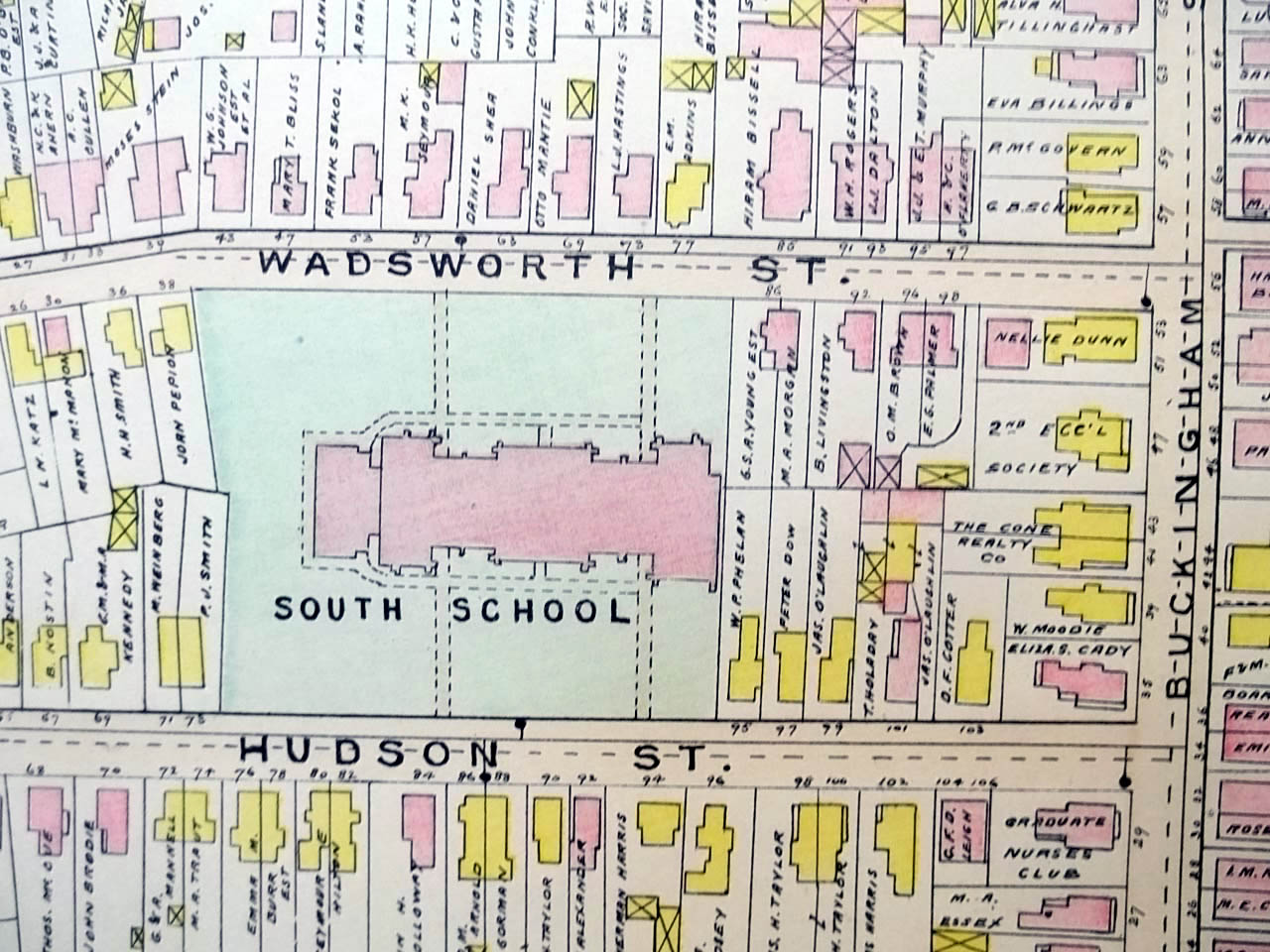 1909 Hartford CT Map: Bushnell Park Capitol Armory Union Station State Library +