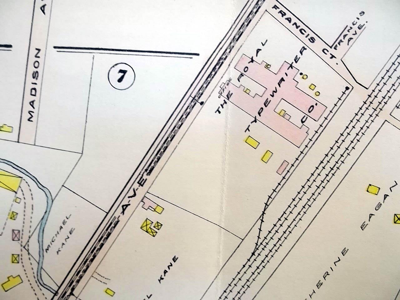 1909 Hartford CT Map: Trinity College; Royal Typewriter; Kane Brick ...