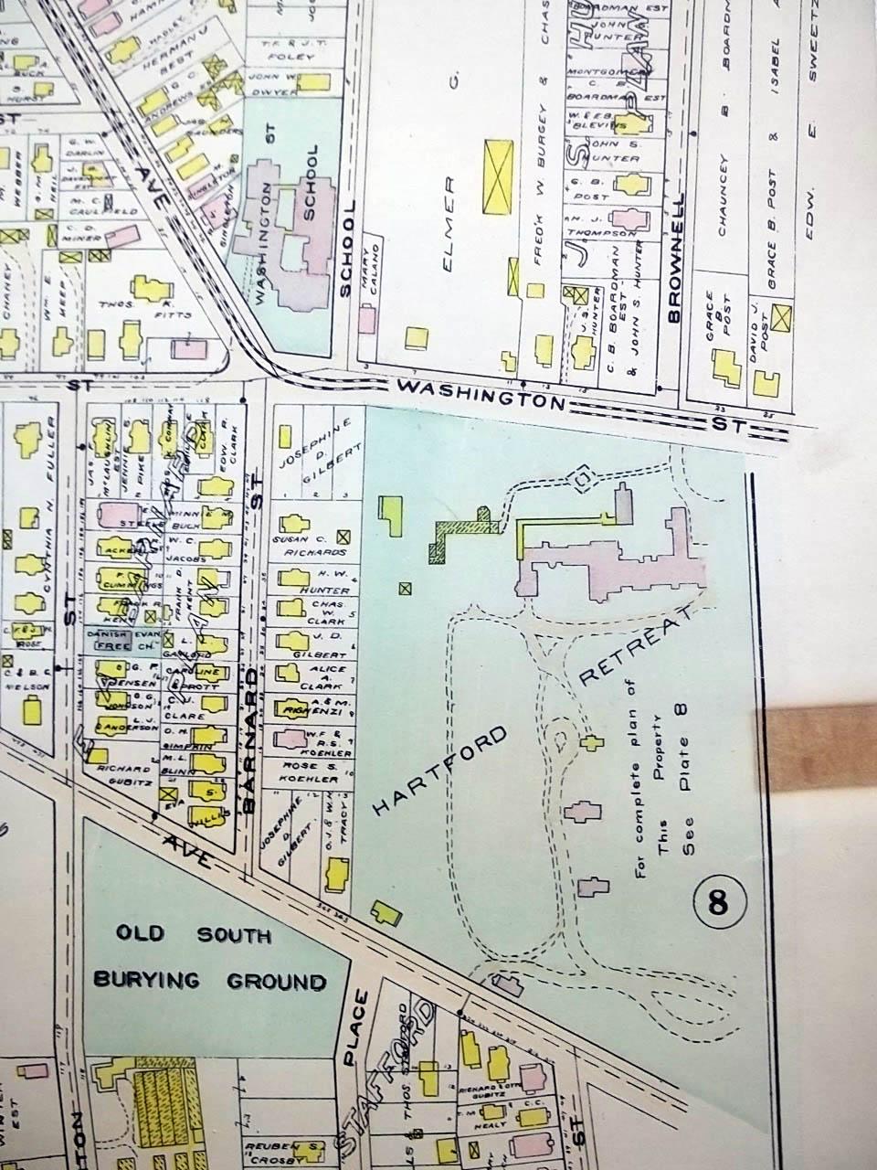 1909 Hartford CT Map: Hartford Retreat; Old South Burying Ground ++