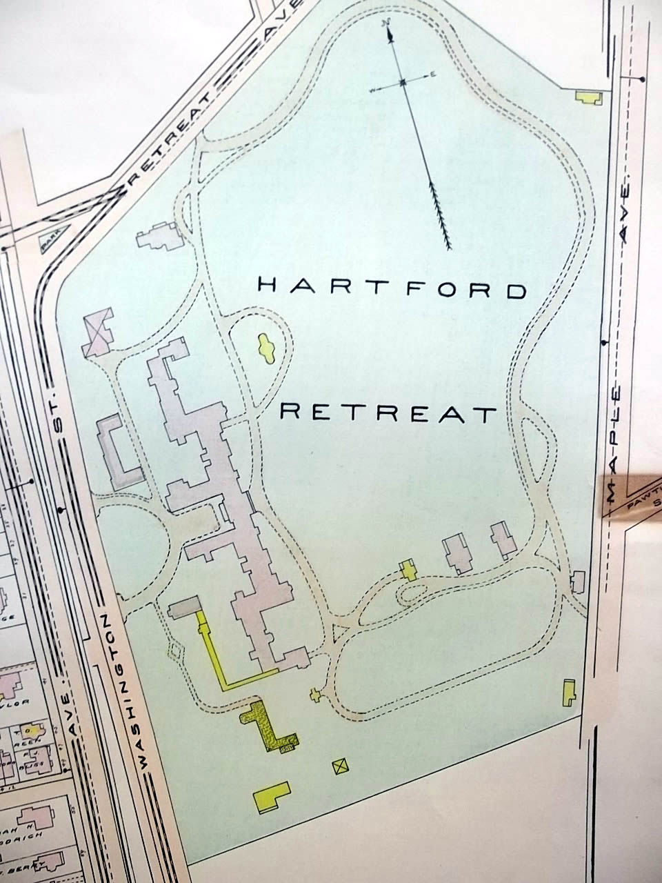 1909 Hartford CT Map: Retreat; Consolidated Railway; Hospital; Old People's Home