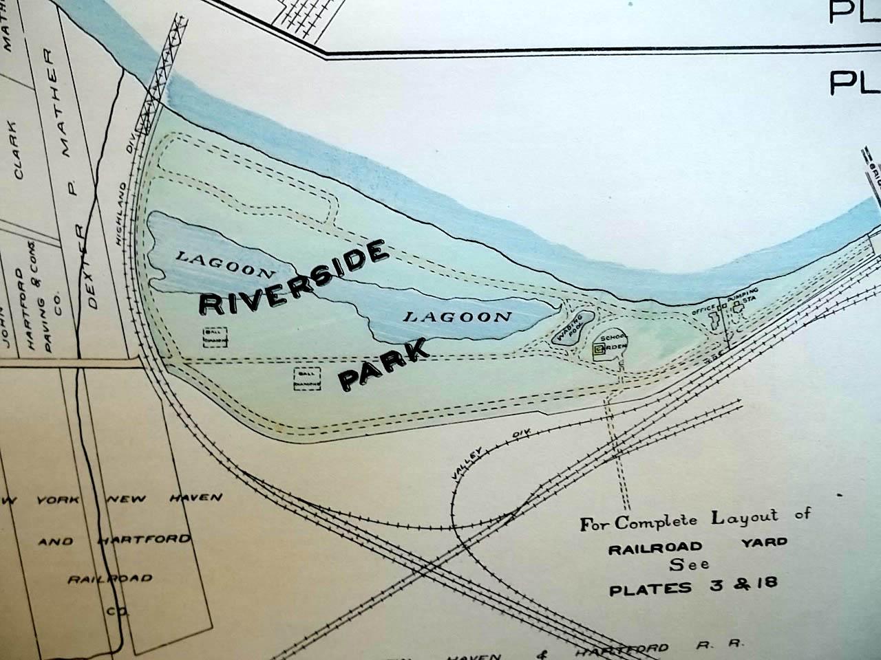 1909 Hartford CT Map Plate 19 Keney Park; Riverside Park; Alms House ++