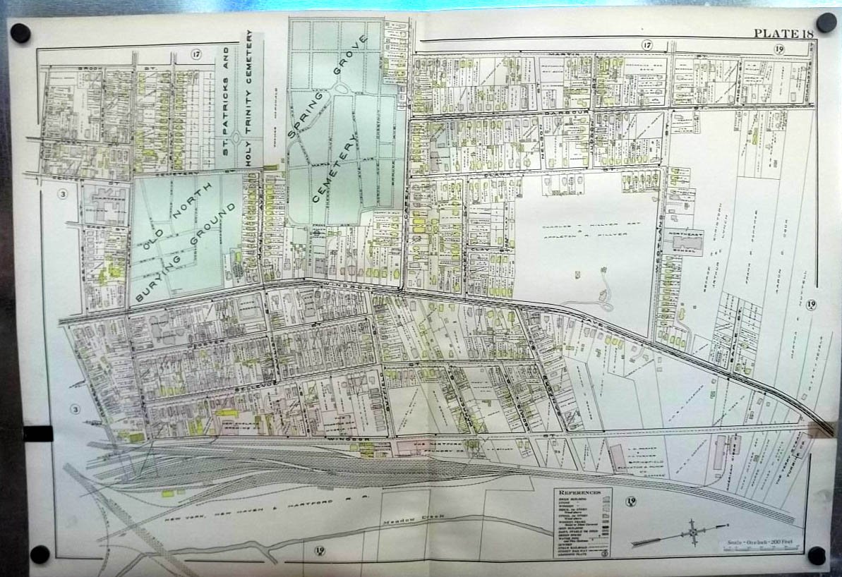 1909 Hartford CT Map: New England Brewery; Terry Steam Turbine; Foundry +