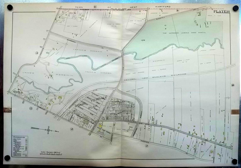 1909 Hartford CT Map: Watkinson Juvenile Farm School; Goodwin properties +