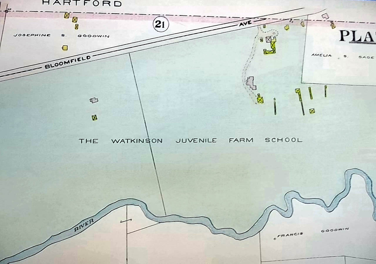 1909 Hartford CT Map: Watkinson Juvenile Farm School; Goodwin properties +