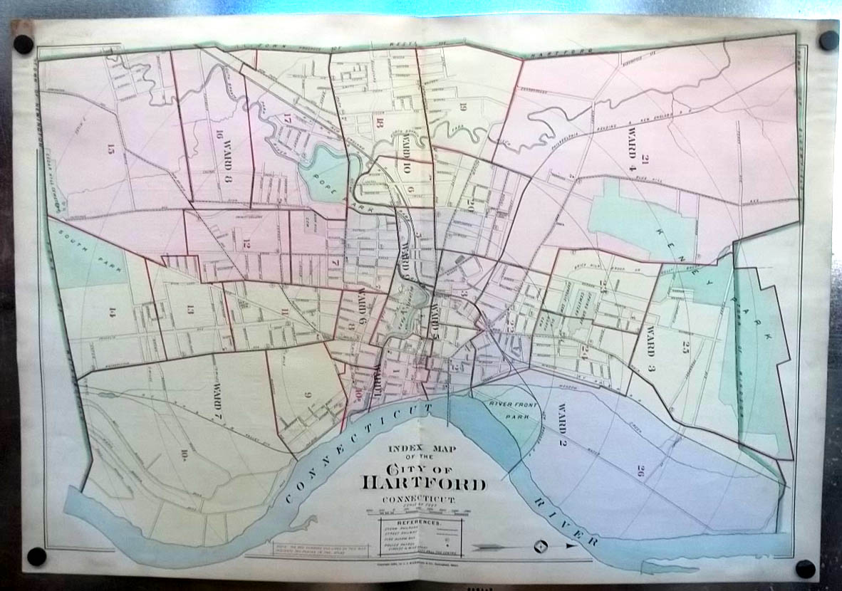 1896 Hartford CT Map Ward Map Key to Atlas: Bushnell Park Trinity College +