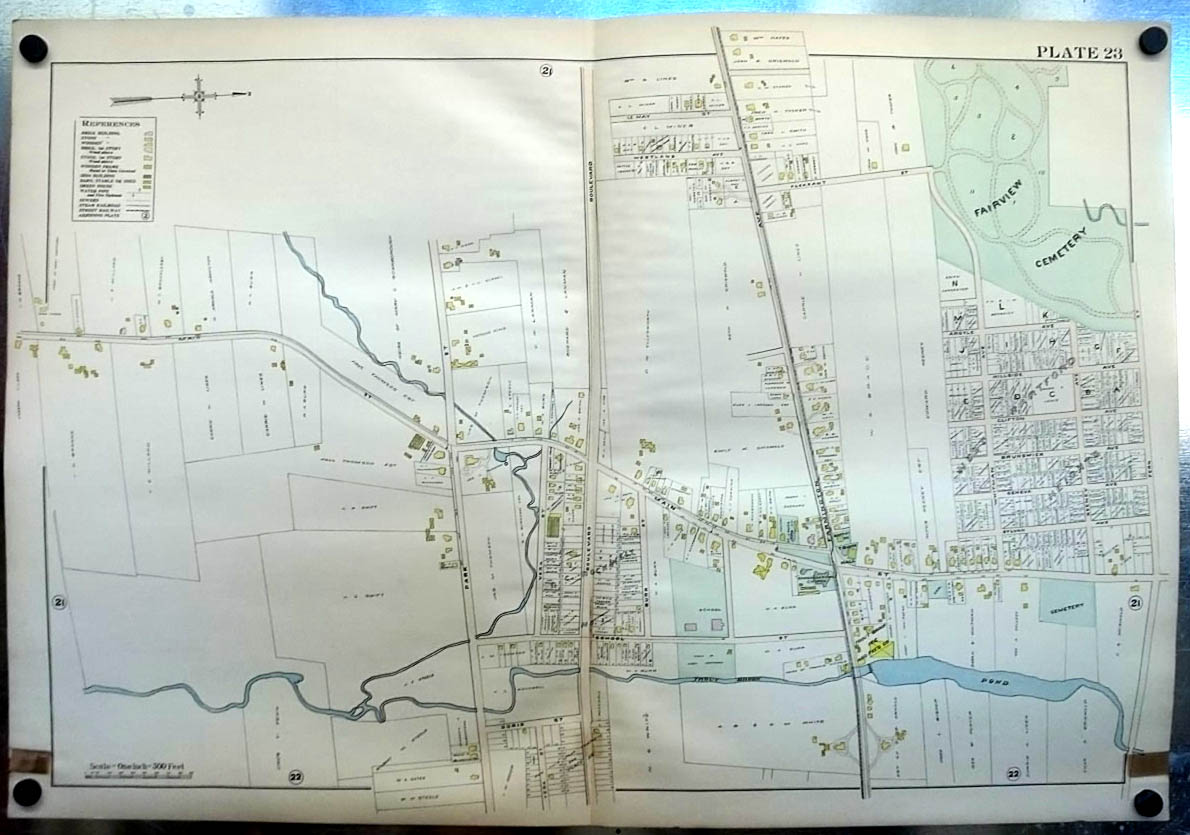 Image for 1909 West Hartford CT Map Plate 23 Trout Brook Ice & Feed Fairview Cemetery +
