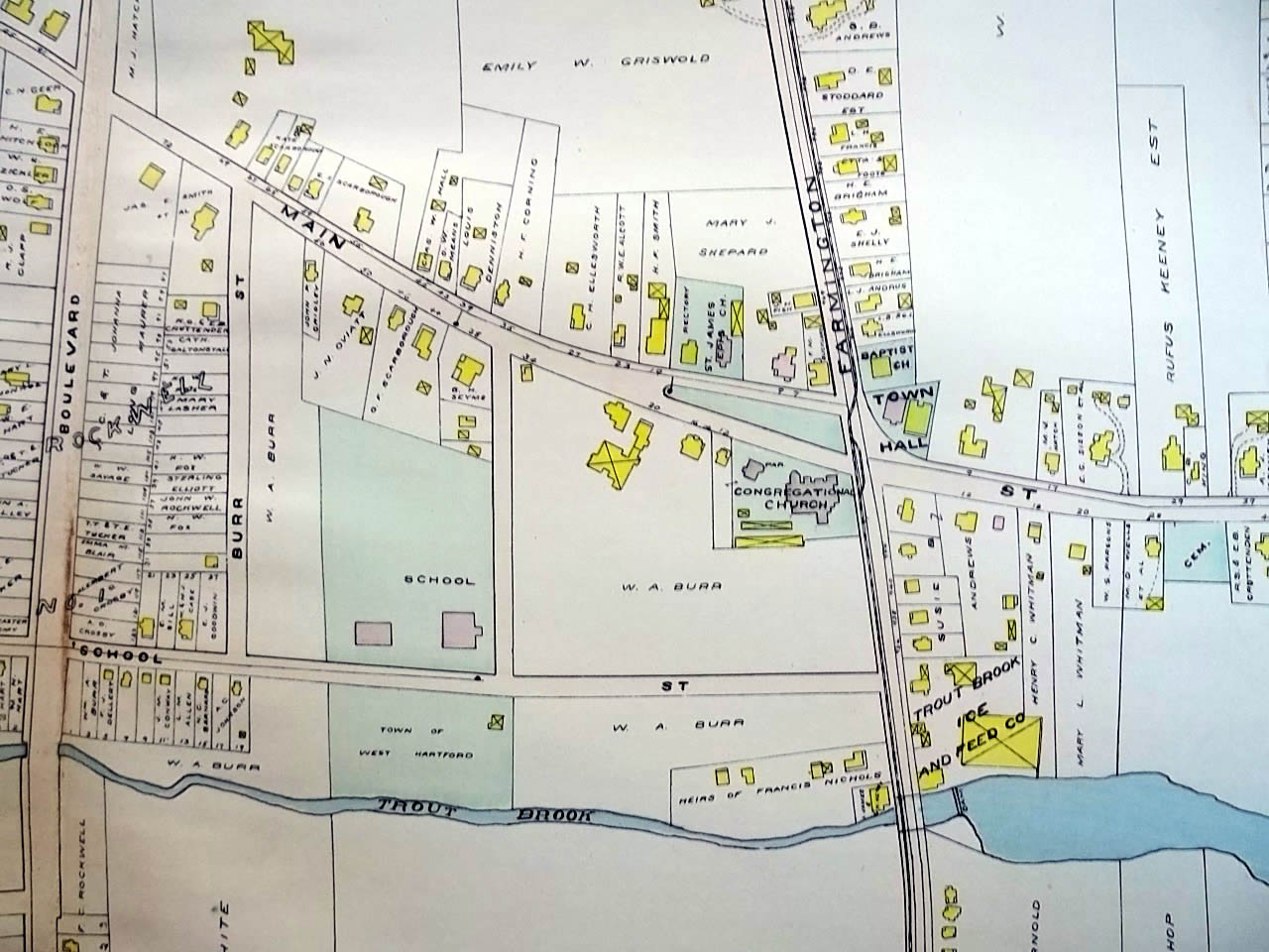 1909 West Hartford CT Map Plate 23 Trout Brook Ice & Feed Fairview ...