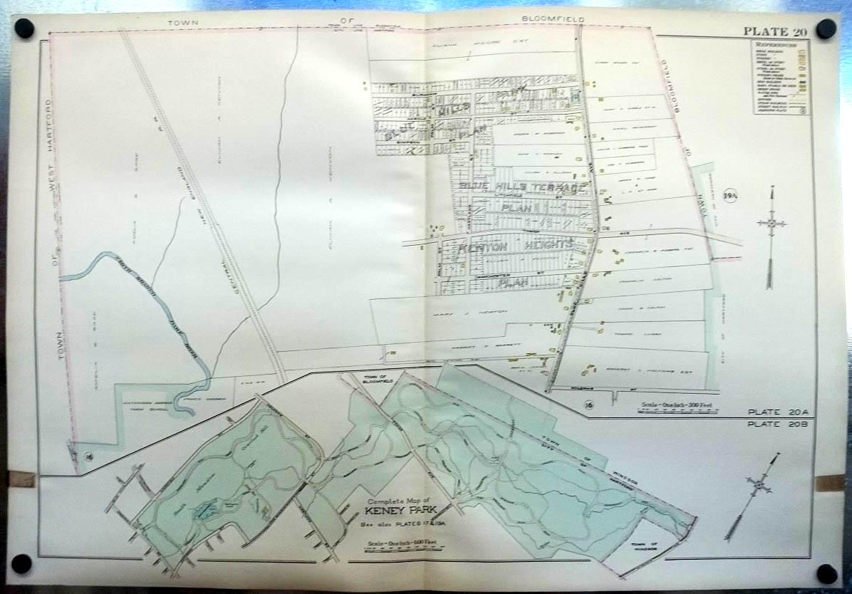 Image for 1909 Hartford CT Map: Keney Park; Watkinson Farm School; Blue Hills Terrace +