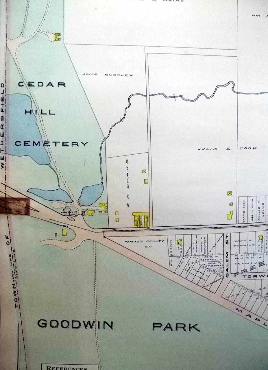 1909 Hartford CT Map: Cedar Hill Cemetery; Goodwin Park Rocky Ridge Park +